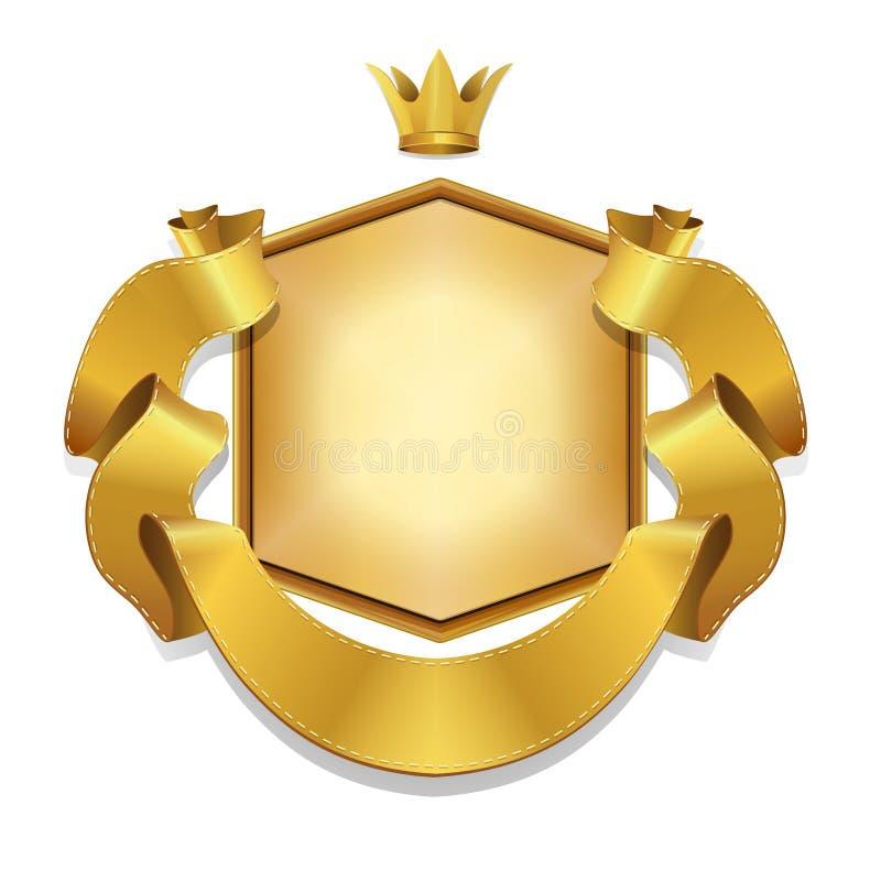 Królewska, Wektorowa etykietka, i złoto tasiemkowy sztandar, obrazy royalty free