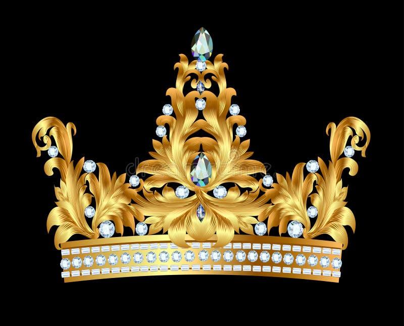 Królewska złocista korona z klejnotami ilustracja wektor