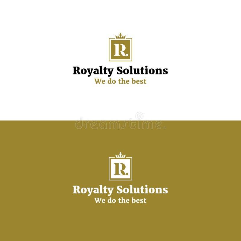 Królewski abstrakta R listu logo z koroną ilustracji