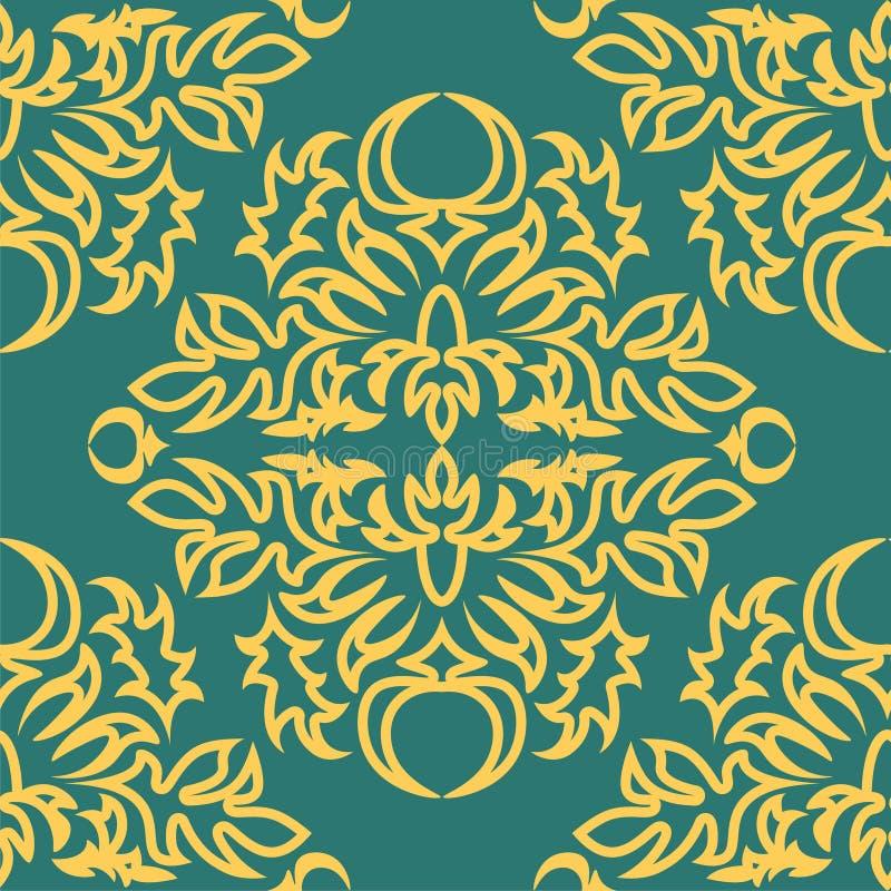 Królewski adamaszka wzór dla tkanina projekta Tapetowy barok, adamaszek royalty ilustracja