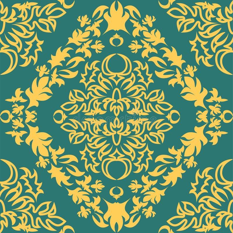 Królewski adamaszka wzór dla tkanina projekta Tapetowy barok, adamaszek ilustracji