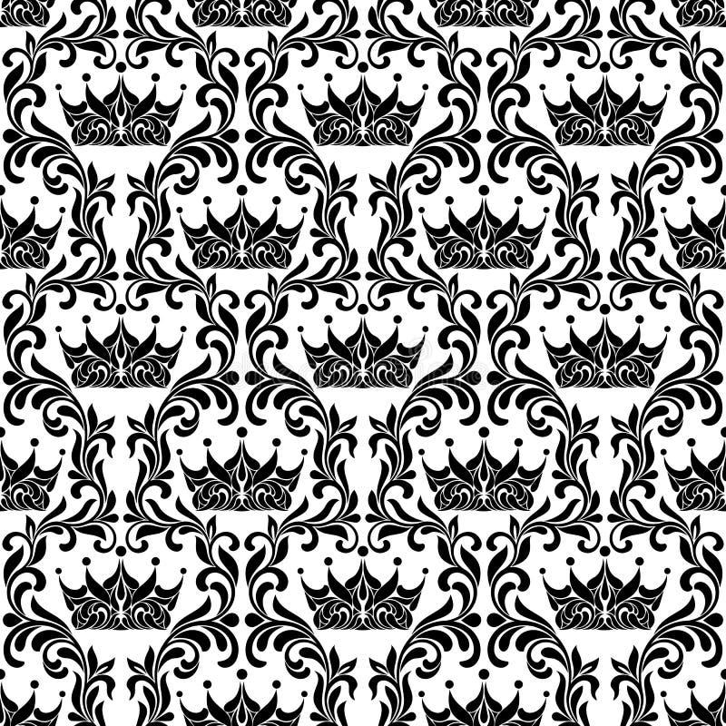 Królewski Bezszwowy wzór Korona i kwiecisty rocznika maswerk odizolowywamy royalty ilustracja