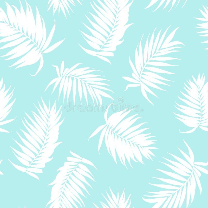 Królewski drzewko palmowe opuszcza bezszwowego deseniowego białego błękit royalty ilustracja