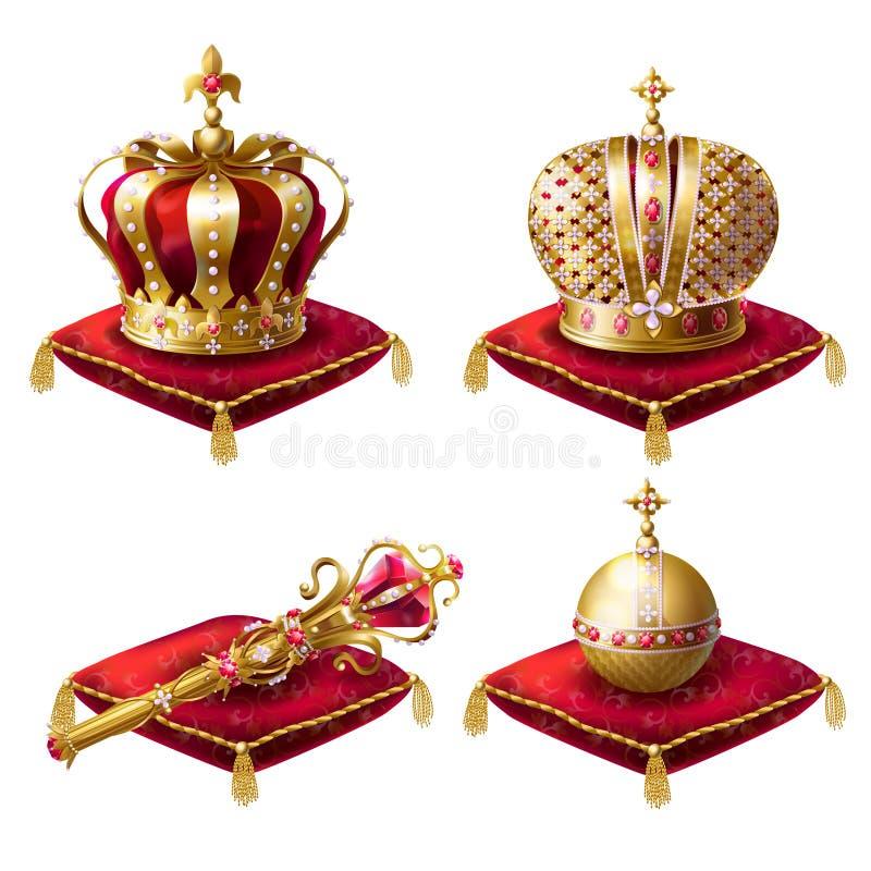 Królewski koron, berła i okręgu realistyczny set, zdjęcie stock