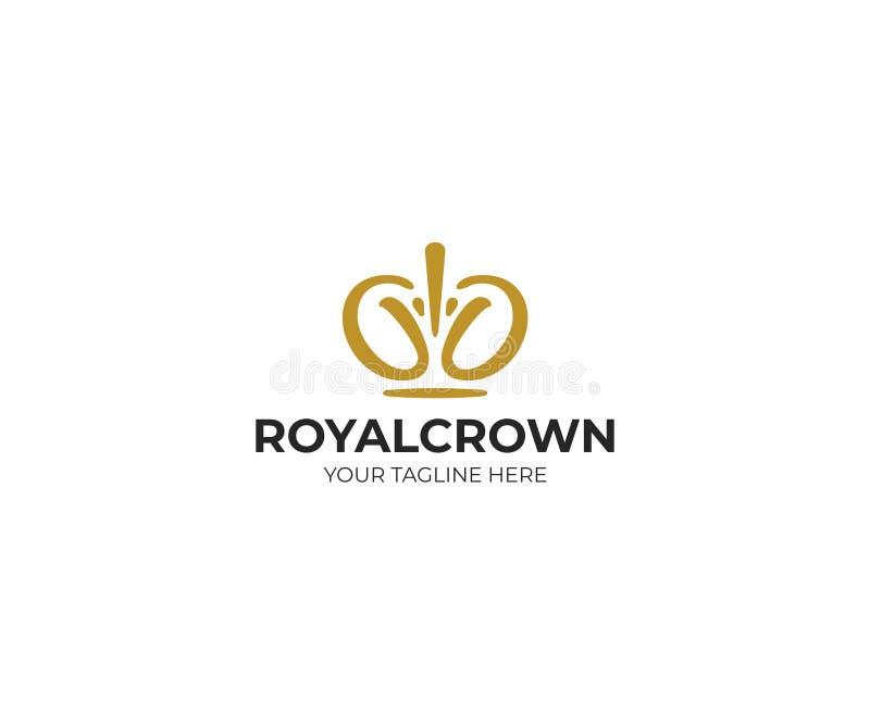 Królewski korona loga szablon Diademu Wektorowy projekt royalty ilustracja