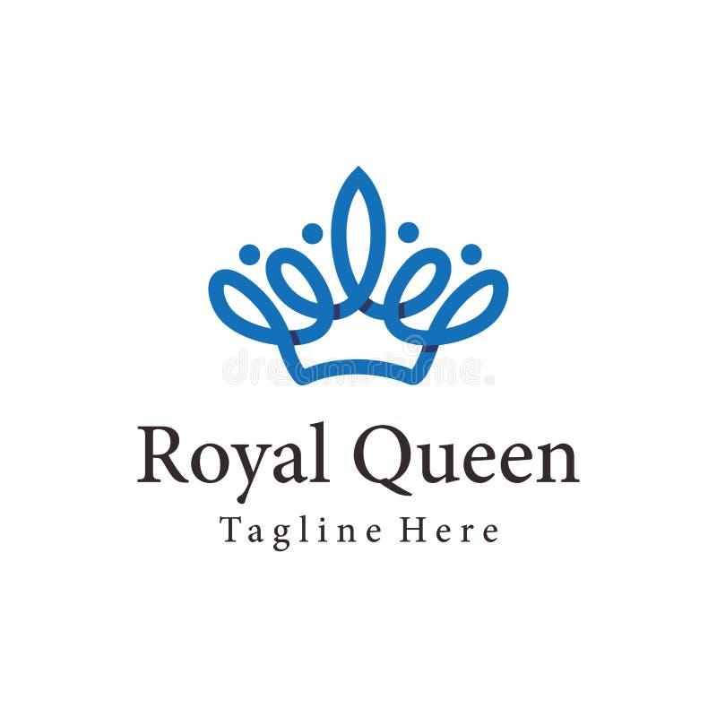 Królewski królowej korony logo i ikona projekt royalty ilustracja