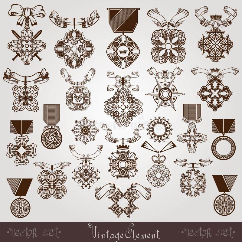 Królewski medalu rocznika set ilustracji
