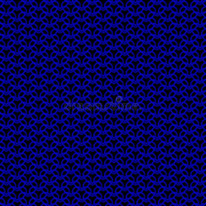 Królewski metalowy wzór niebieskich serc na czarnym tle zdjęcia stock