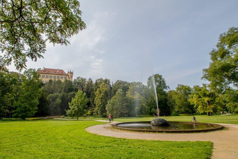 Królewski Parkowy Stromovka Krà ¡ lovskà ¡ Obora Stromovka w Praga, republika czech zdjęcia stock