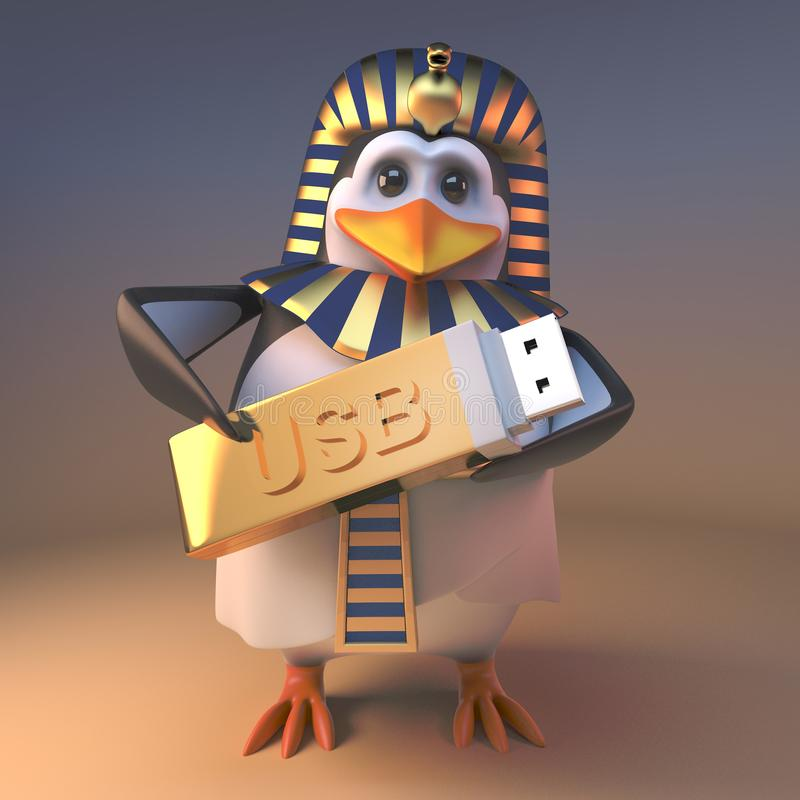 Królewski pingwinu pharaoh Tutankhamun trzyma złotego USB kciuka przejażdżki pamięci kij, 3d ilustracja ilustracja wektor