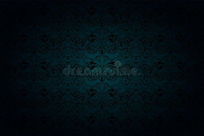 Królewski, roczniku, Gocki tło w ponurej malachit zieleni i czerni brzmieniu, royalty ilustracja