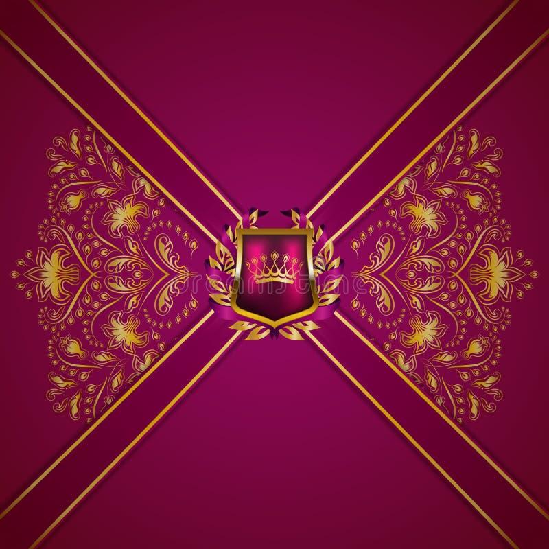 Królewski tło z ornamentem, osłona, złocista korona, faborek, blazon, miejsce dla teksta w rocznika stylu ilustracji