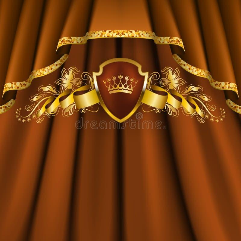 Królewski tło z ornamentem, osłona, złocista korona, faborek, blazon, miejsce dla teksta w rocznika stylu royalty ilustracja