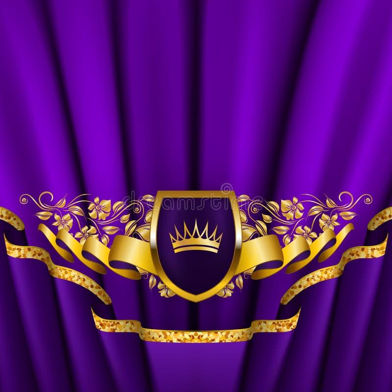 Królewski tło z ornamentem, osłona, złocista korona, faborek, blazon, miejsce dla teksta w rocznika stylu ilustracja wektor