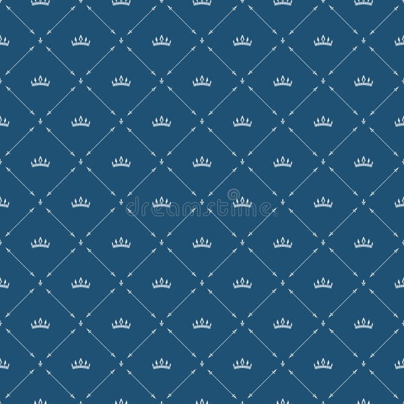 Królewski tapetowy bezszwowy wzór z koroną i dekoracyjnymi elementami Luksusowy tło ilustracji
