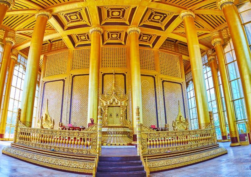 Królewski tron w Kanbawzathadi Złotym pałac, Bago, Myanmar obraz stock