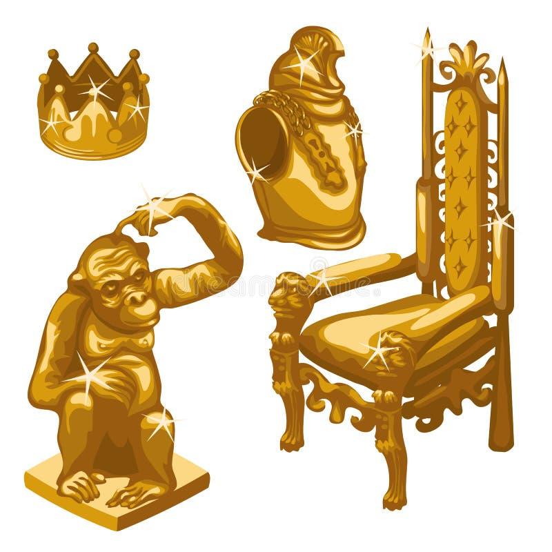 Królewski tron, Złota małpa i breastplate, ilustracja wektor