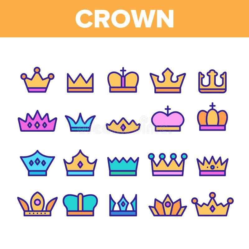 Królewskie Headwear, koron I tiar Wektorowe ikony Ustawiać, royalty ilustracja