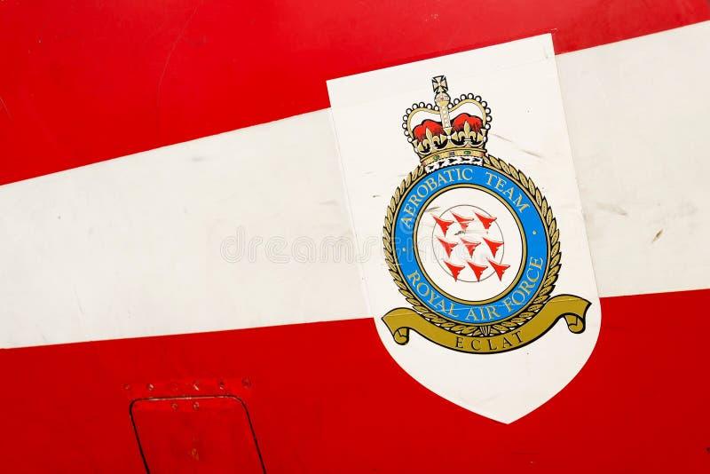 Królewskie Siły Powietrzne aerobatic drużynowy logo na jastrzębia T1 strumienia samolocie zdjęcie stock