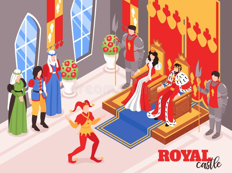 Królewskiego życia Isometric skład ilustracji