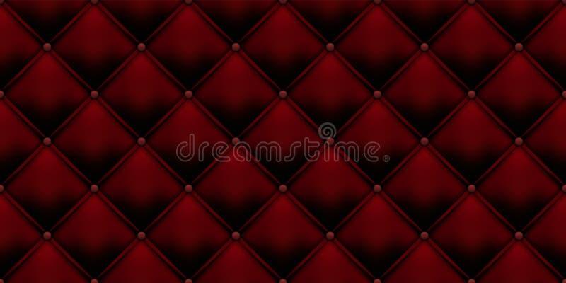 Królewskiego czerwonego rocznika tapicerowania rzemienny tło z guzika wzorem Wektorowy luksusowy czerwony aksamitny tło z guzikie ilustracji