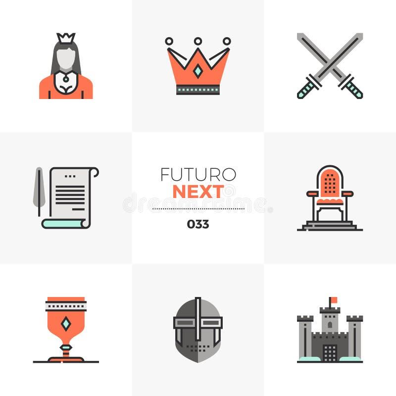 Królewskiego królestwa Futuro Następne ikony ilustracja wektor
