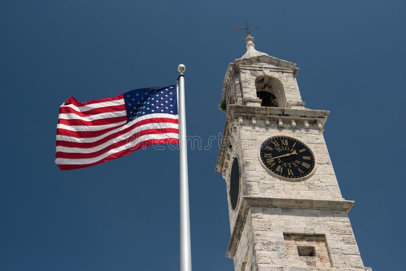 Królewskiego Morskiego Dockyard Zegarowy wierza w Bermuda zdjęcia stock