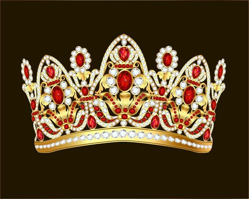 królewskiej biżuterii błyszcząca złocista korona z klejnotami i rubinami ilustracji