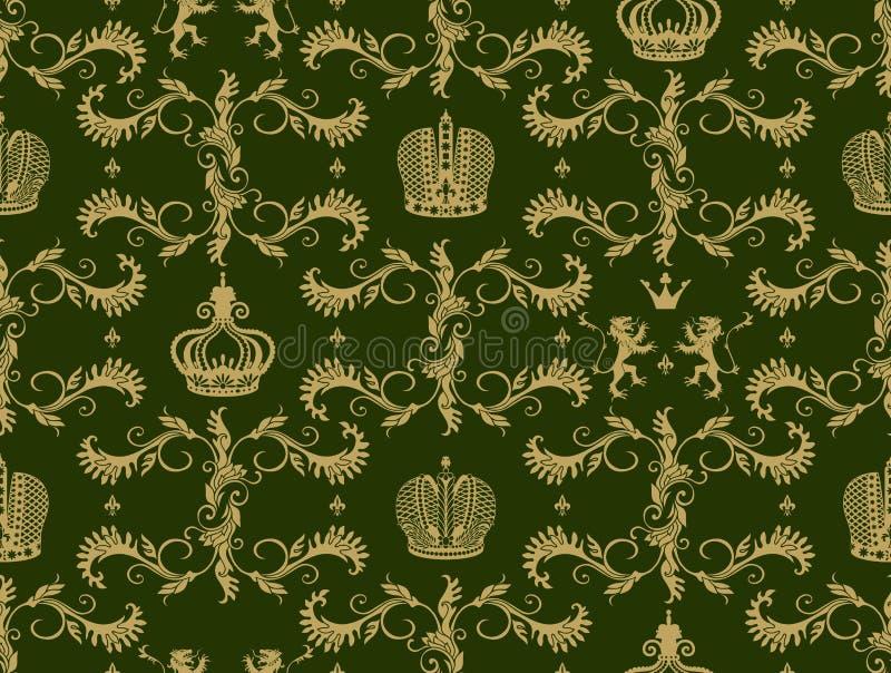Królewskiej korony bezszwowy wzór ilustracja wektor