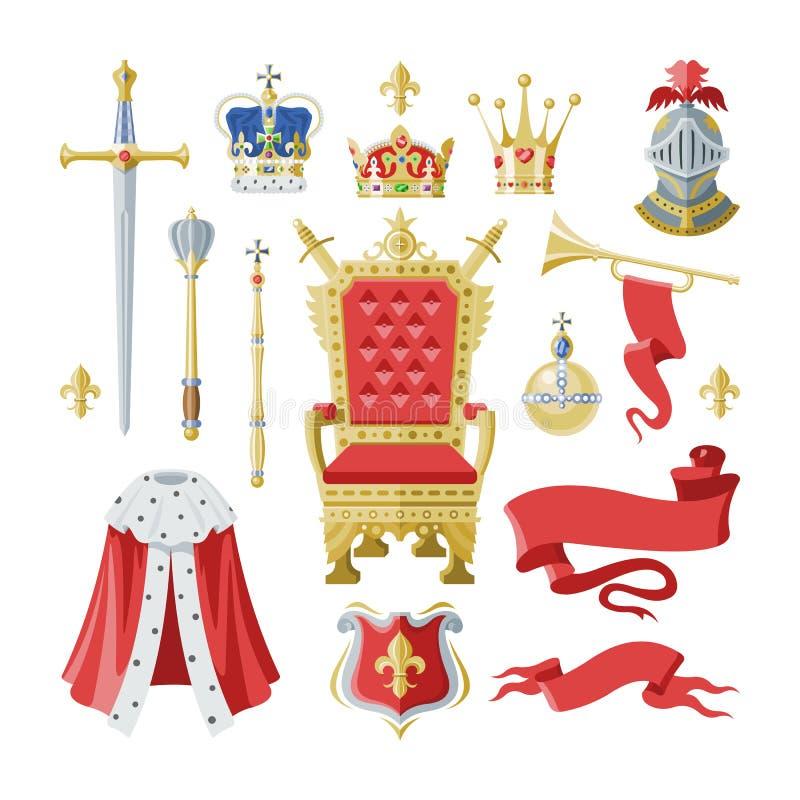 Królewskości korony wektorowy złoty królewski symbol królewiątka princess i królowej ilustraci znak koronować książe władzy set ilustracja wektor