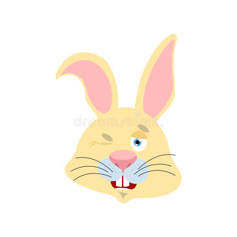 Królików mrugnięcia Zajęczy szczęśliwy emoji Zwierzęca wektorowa ilustracja ilustracja wektor