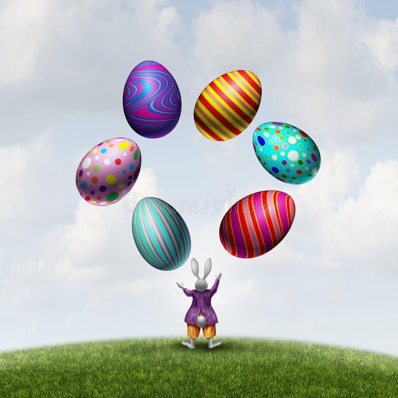 Królik żongluje Wielkanocnych jajka royalty ilustracja
