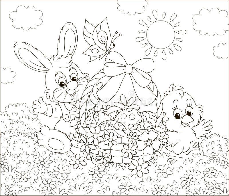 Królik i kurczątko z Wielkanocnym koszem ilustracji