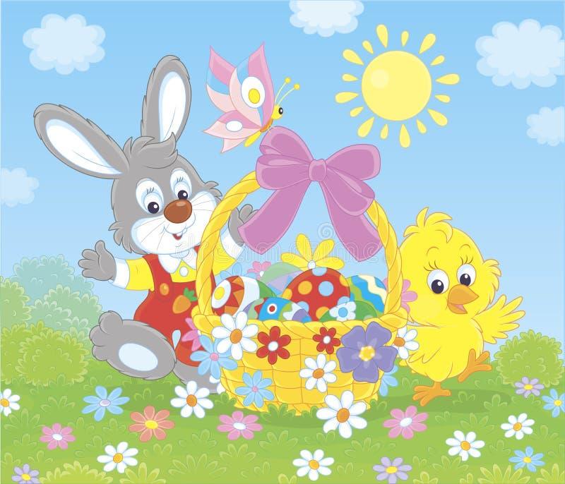Królik i kurczątko z Wielkanocnym koszem ilustracja wektor