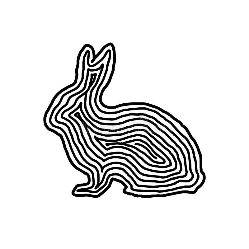 Królik ilustracyjna ikona w czerni odsadzki linii Odcisku palca sty ilustracji