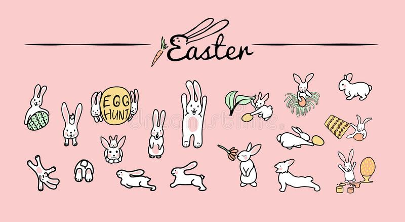 królik kryjówki jajka Set śliczne Szczęśliwe Wielkanocne postacie z kreskówki Króliki, Wielkanocni jajka, kwiaty, liście, wiadro ilustracja wektor