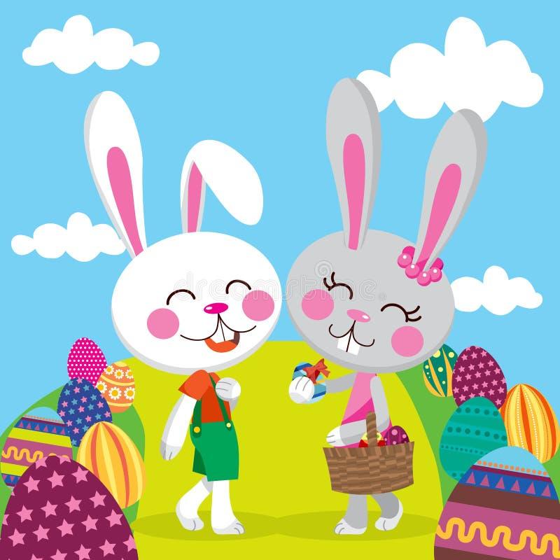 królik para Easter ilustracja wektor