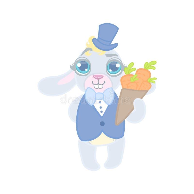 Królik Ubierający W kostiumu Na dacie royalty ilustracja