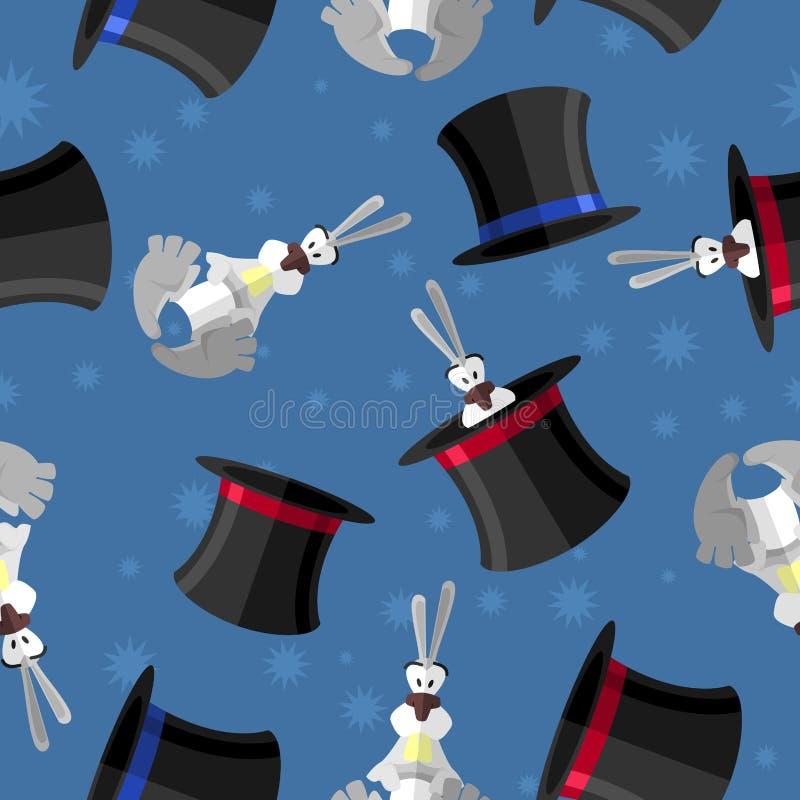 Królik w kapeluszowym bezszwowym wzorze Wektorowy tło dla magicznego pr ilustracja wektor