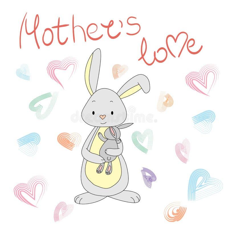 Królik z królikiem w ona troszkę ręki mama jest miłość ilustracji