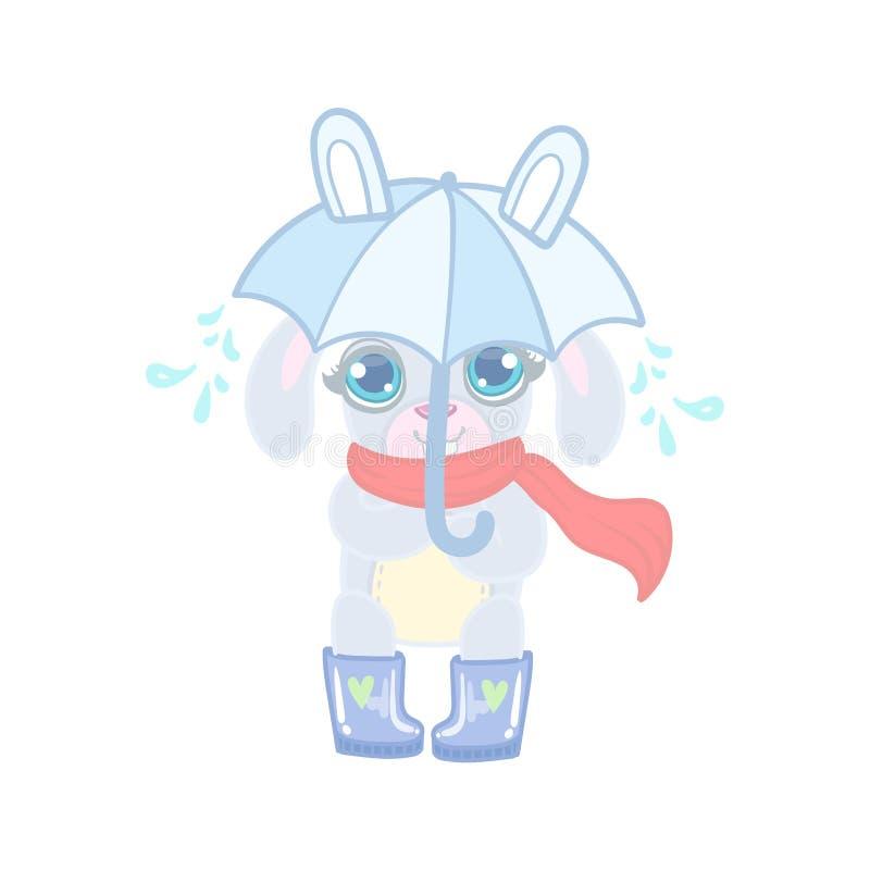 Królik Z parasolem Pod deszczem royalty ilustracja