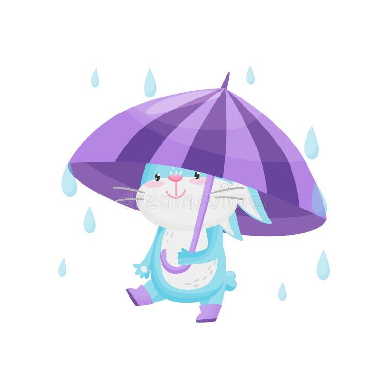 Królik z purpurowym parasolem w deszczu na białym tle royalty ilustracja