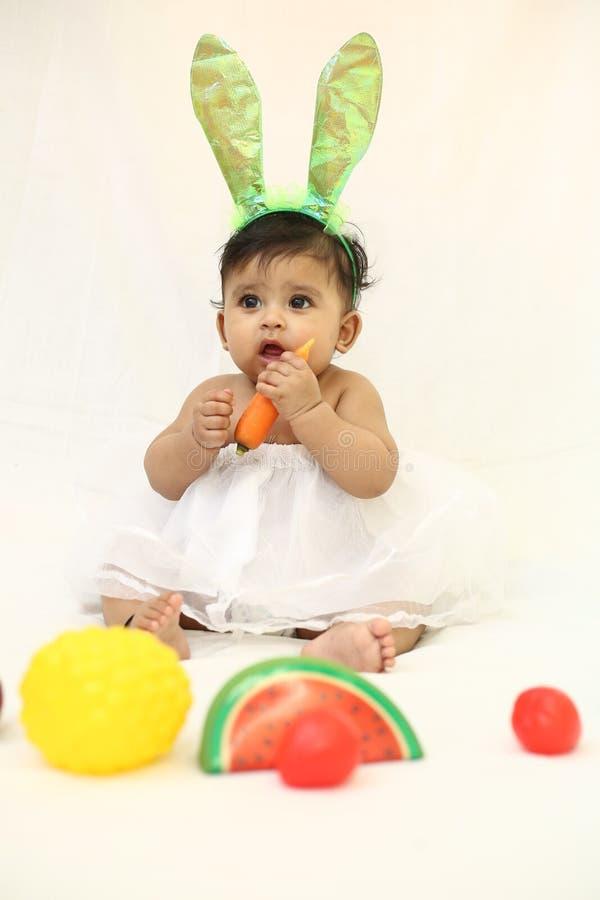 Królika dziecka łasowania marchewka fotografia stock