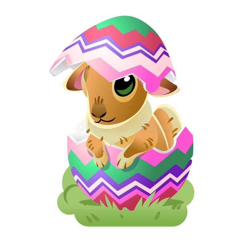 królika Easter jajko Wektorowa kreskówki ilustracja odizolowywająca na białym tle Śliczny królika charakter dla wakacyjnego proje ilustracji