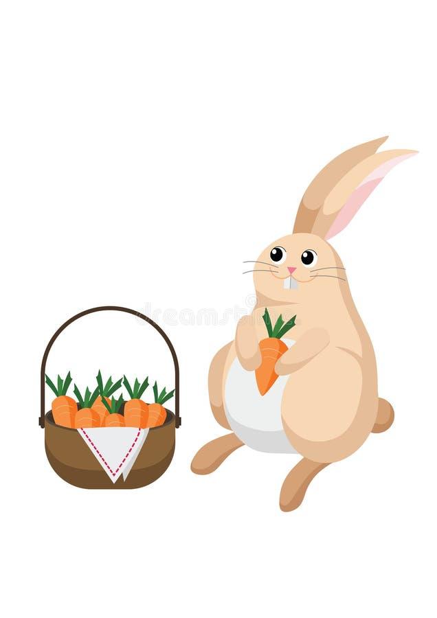 Królika królik z koszykowy pełnym marchewki royalty ilustracja