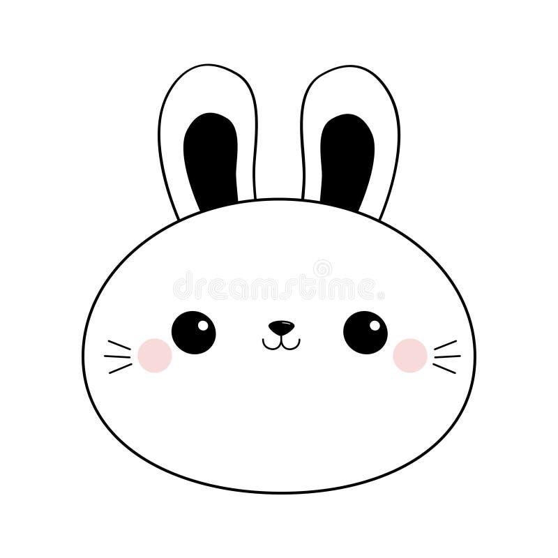Królika królika round twarzy kierowniczej linii ikona Doodle liniowy nakreślenie Czarna konturowa sylwetka Duzi ucho Ślicznego kr royalty ilustracja