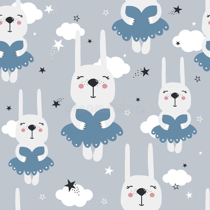 Króliki w sukniach, gwiazdy, chmury, bezszwowy wzór royalty ilustracja