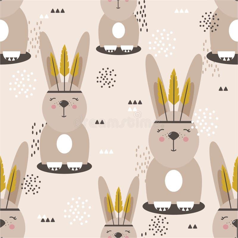 Króliki z piórkami, kolorowy bezszwowy wzór Dekoracyjny śliczny tło z szczęśliwymi zwierzętami ilustracji