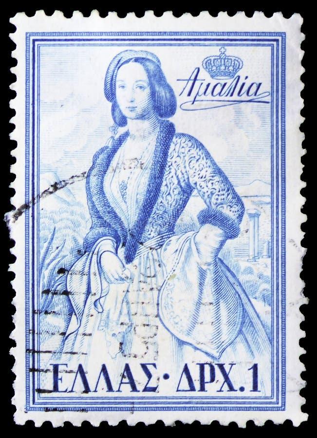 Królowa Amalia, Greccy królewiątka i queens seria około 1956, obrazy stock