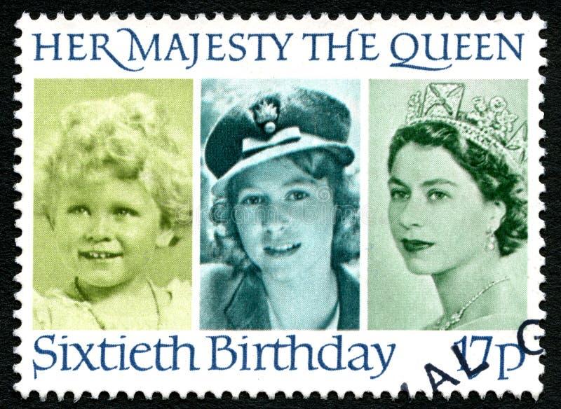 Królowa Elżbieta II 60th Urodzinowy UK znaczek pocztowy obrazy stock